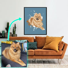Load image into Gallery viewer, Personalised pet portrait. Custom dog portrait. Perfect gift for dog owners / pet owners. Framed pet portrait