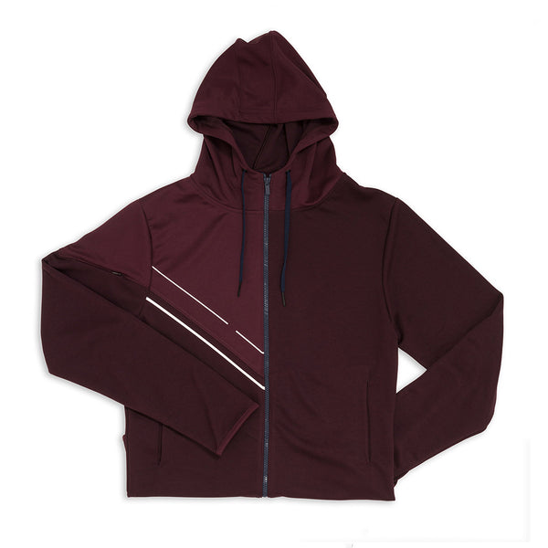 Men's Asymmetric Zipper Hoodie - Prune Purple