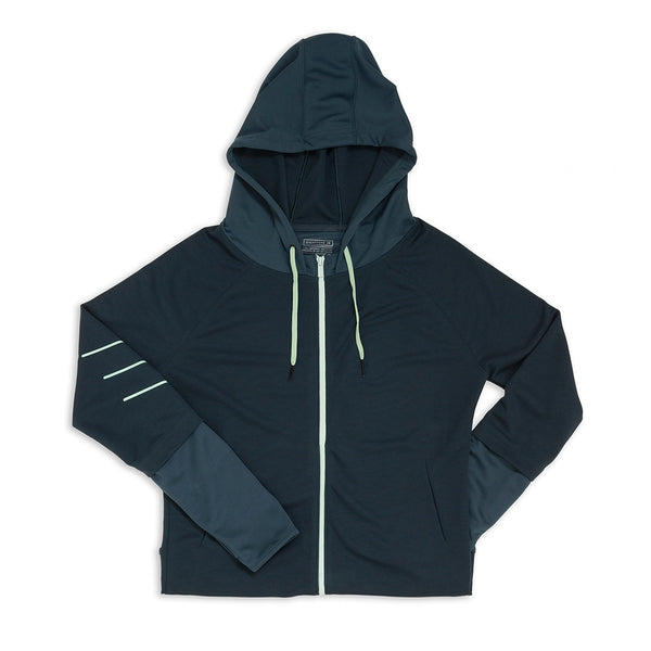 Women's Raglan Zipper Hoodie - Orion Blue