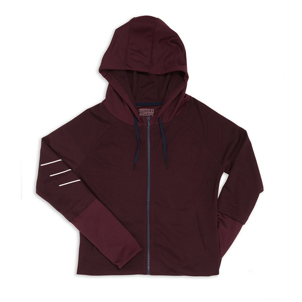Women's Raglan Zipper Hoodie - Prune Purple
