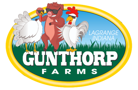Gunthorp Farms logo with a turkey, pig, & chicken plus the words LaGrange, Indiana and Gunthorp Farms