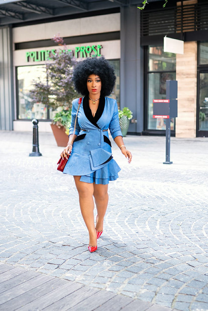 Denim Tuxedo Dress