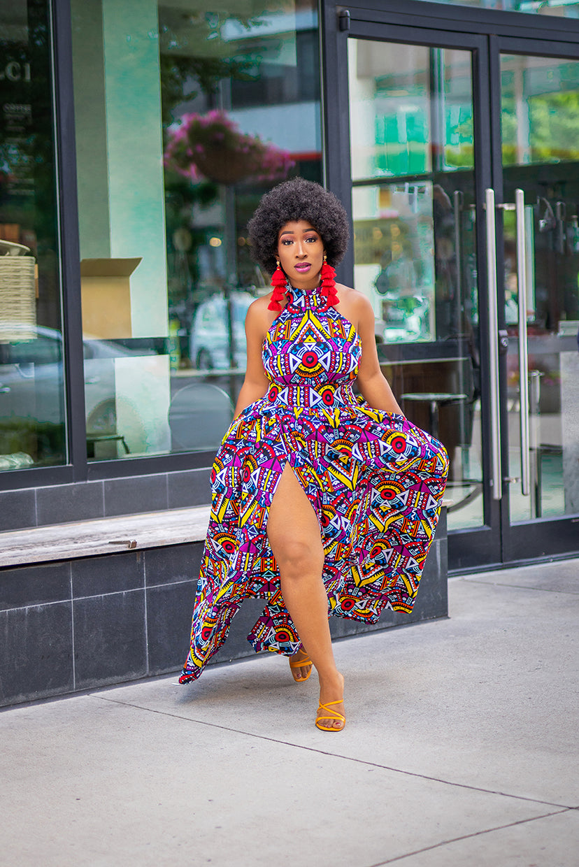 Ankara slit dress