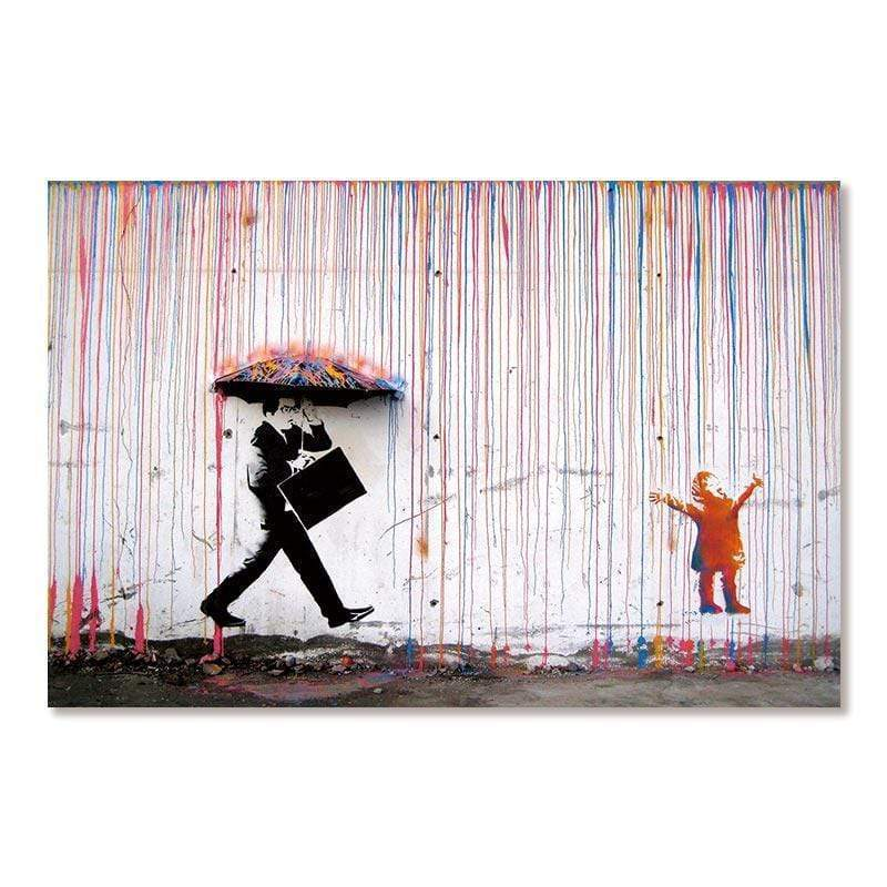 "CANVAS - UNDER THE RAIN ""BANKSY"""