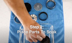 Step 2: Place Flower Mill Parts To Soak