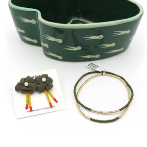 Collage Studs and Bracelet Set (Olive)