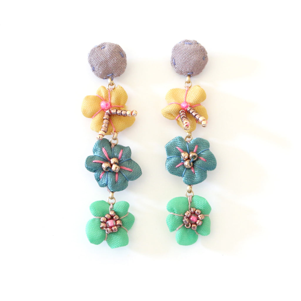 Vintage Textile Earrings, Beaded Flower Drop Studs, Lavender, Blue, Green