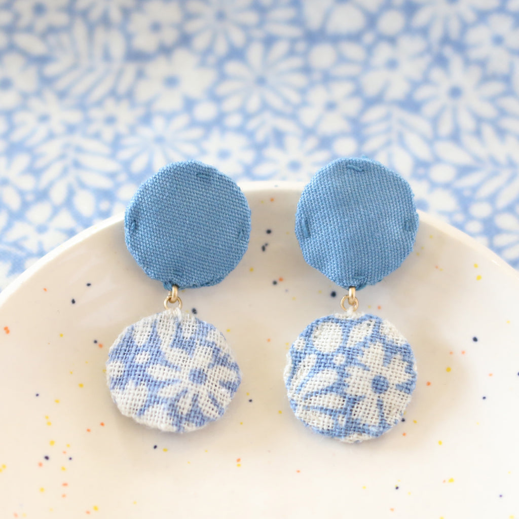 Blue daisy with leaf floral vintage textile drop stud earrings by Ashdel, in Austin, TX