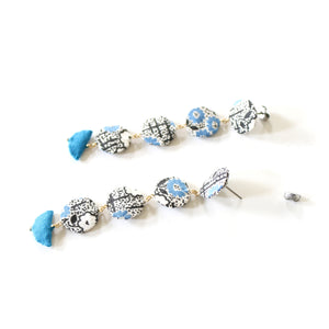 Long Drop Studs (Deco Floral)