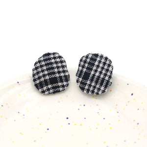 Swatch Studs (Black Plaid)