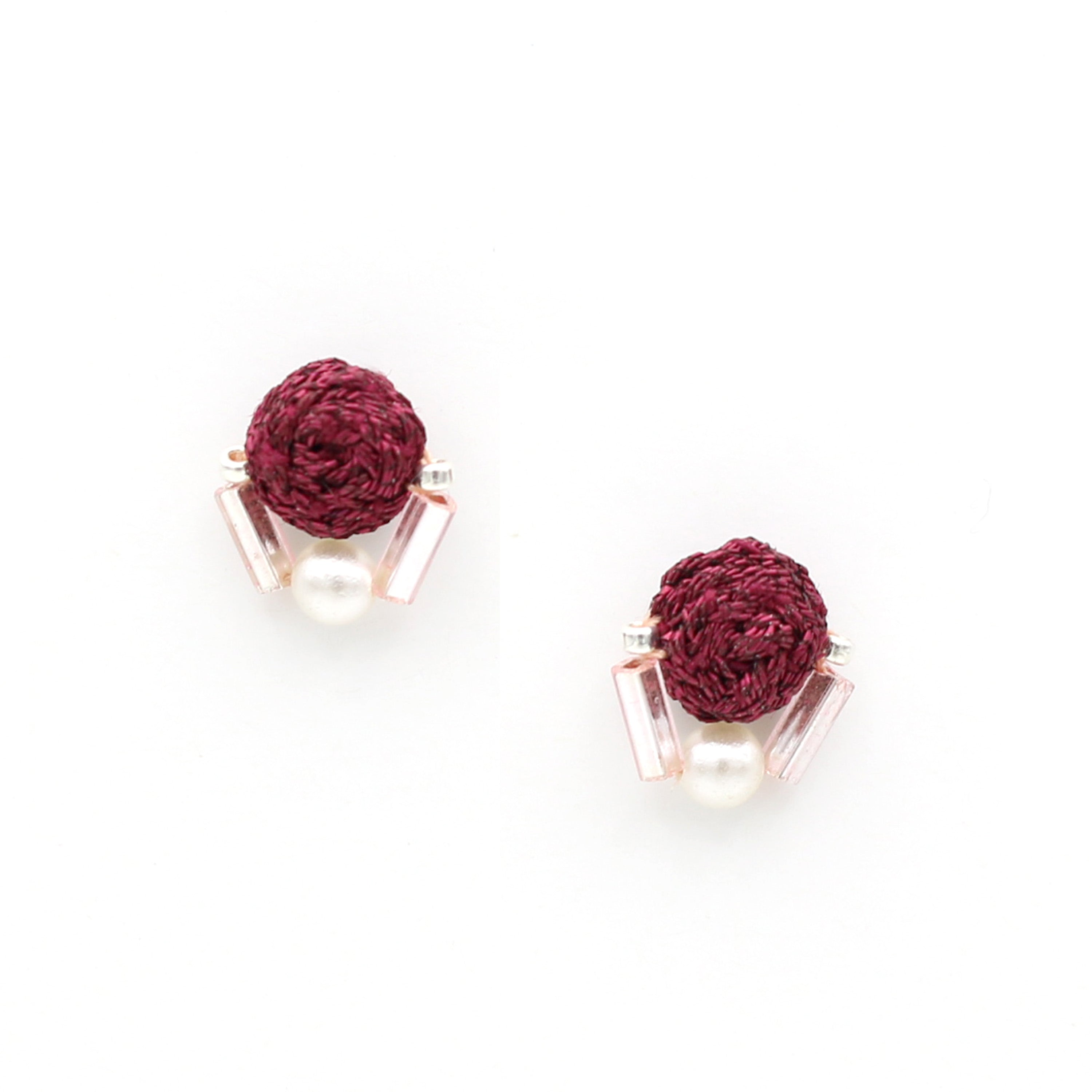 Woven Collage Studs (Maroon)