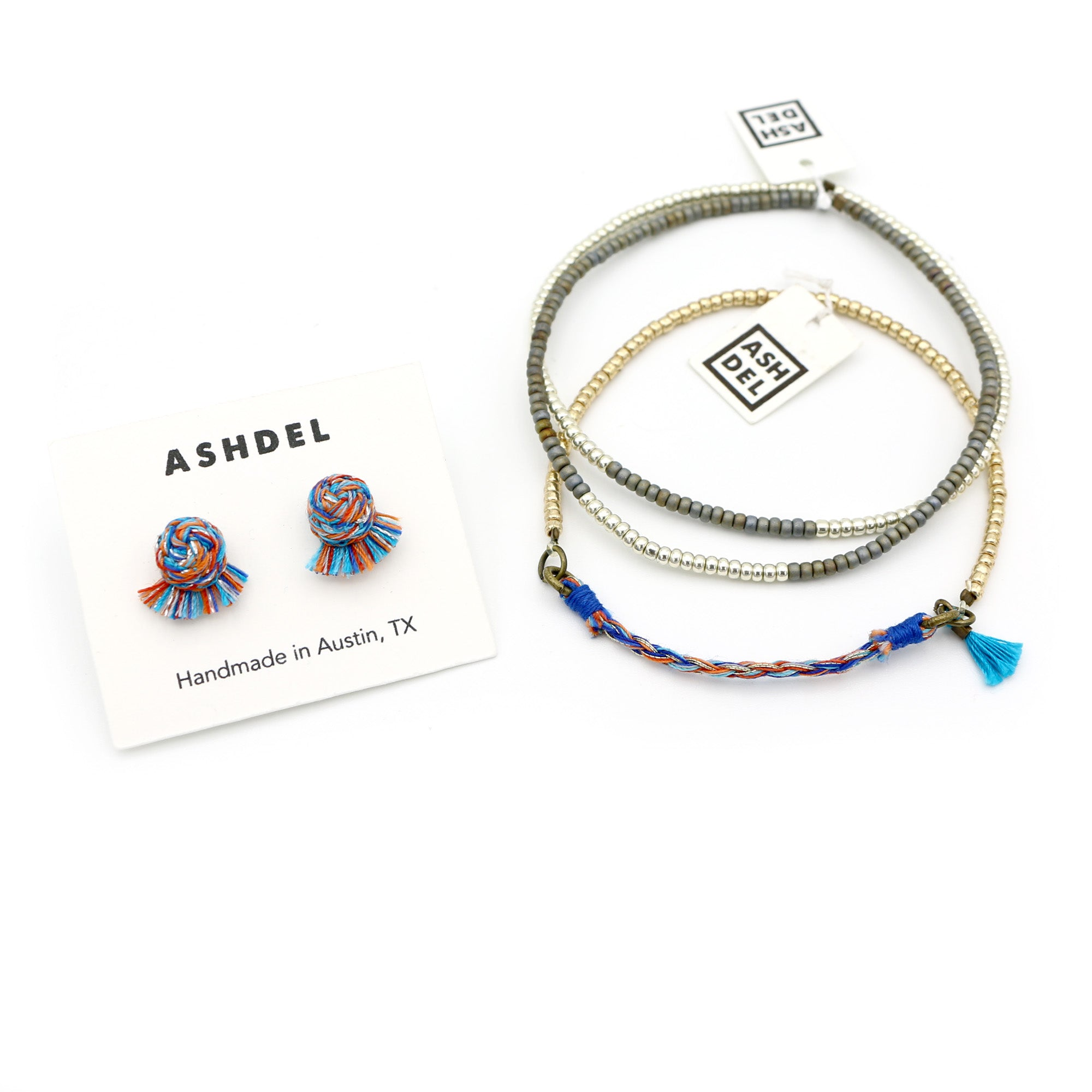 Woven Studs and Tassel Bracelet Set (Mix No. 2)