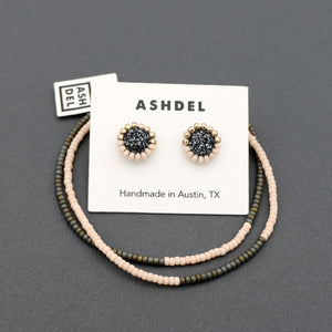 Woven Metallic Studs and Bracelet Set (Titanium)