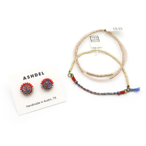 Woven Studs and Tassel Bracelet Set (Mix No. 1)