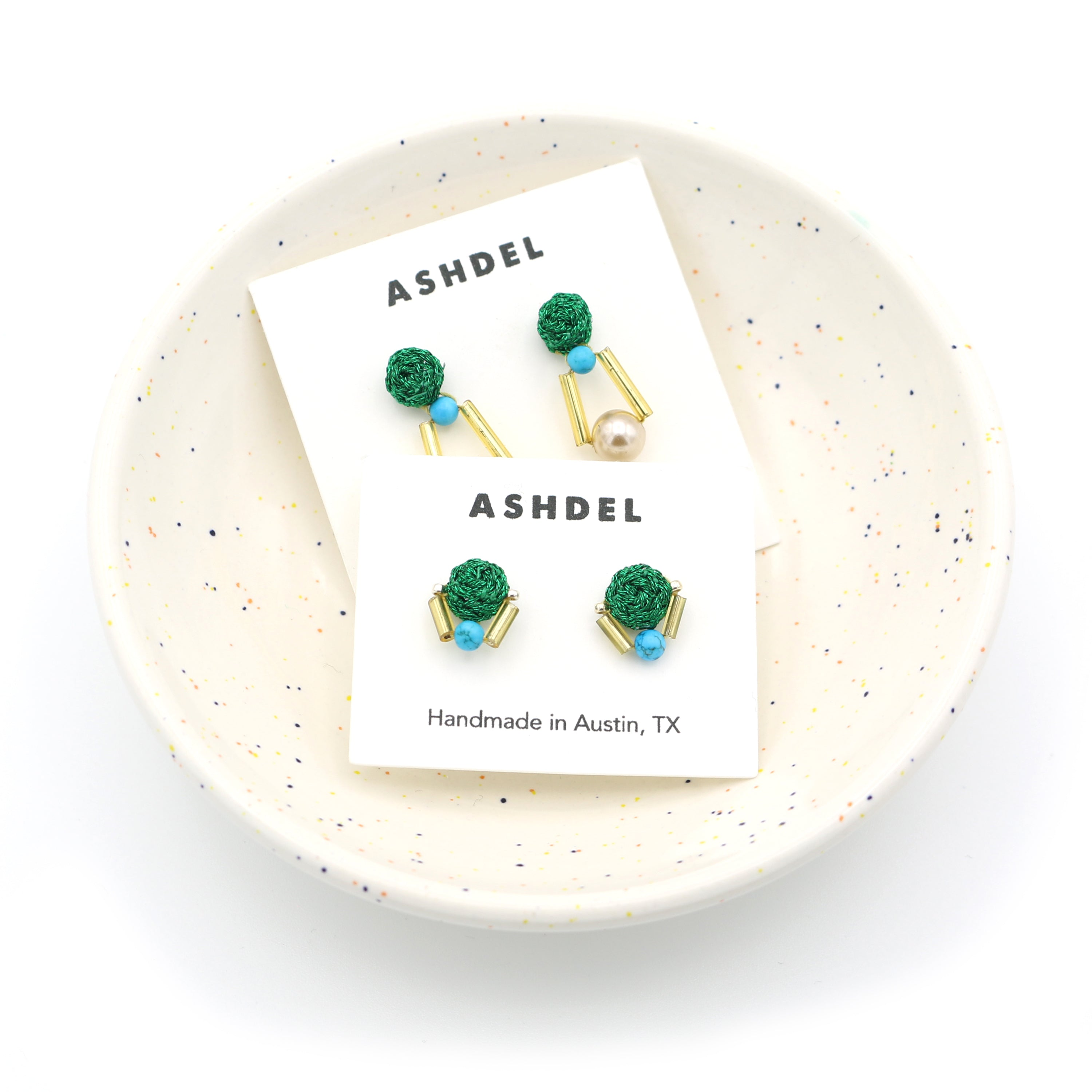 Woven Collage Studs (Emerald)