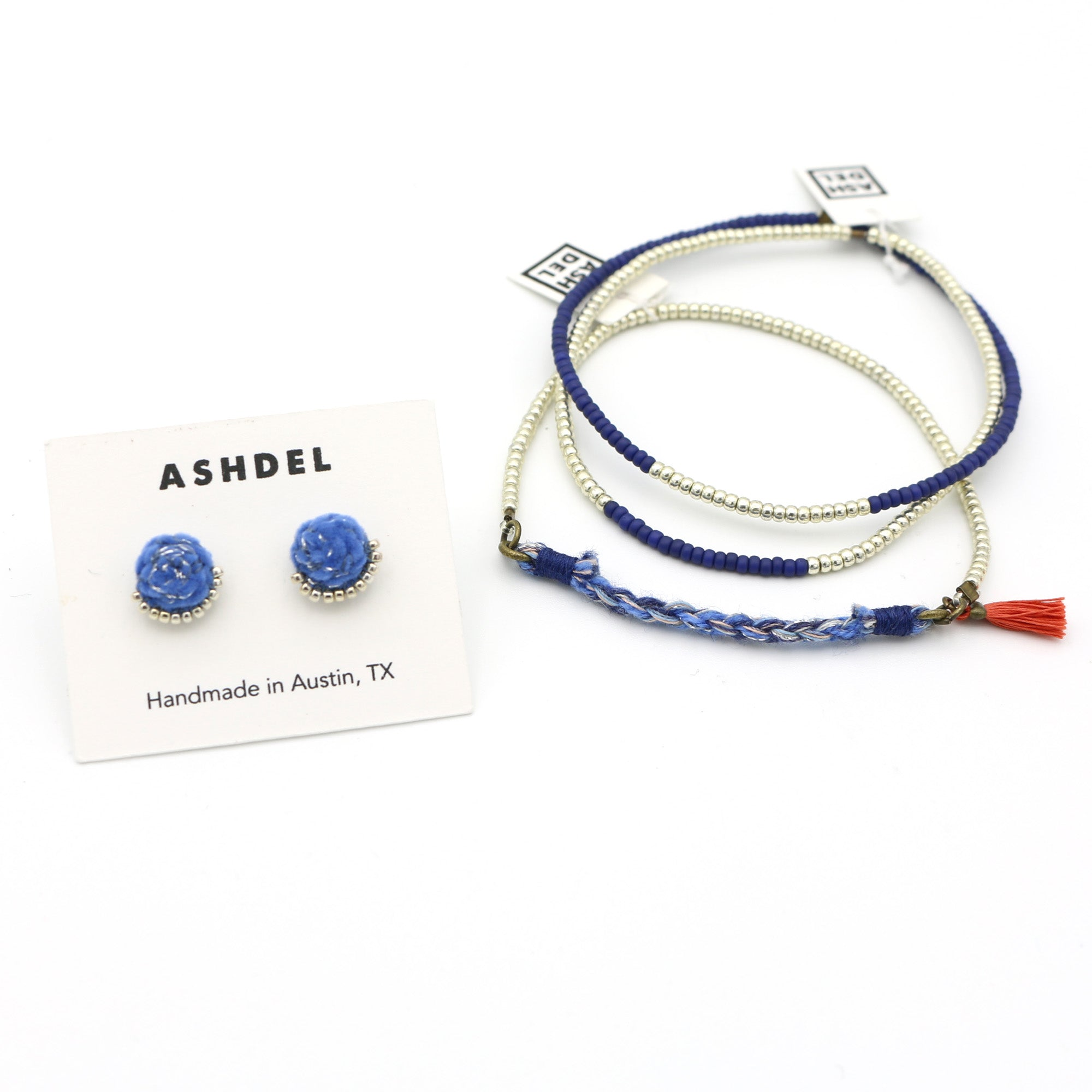 Woven Studs and Tassel Bracelet Set (Mix No. 6)
