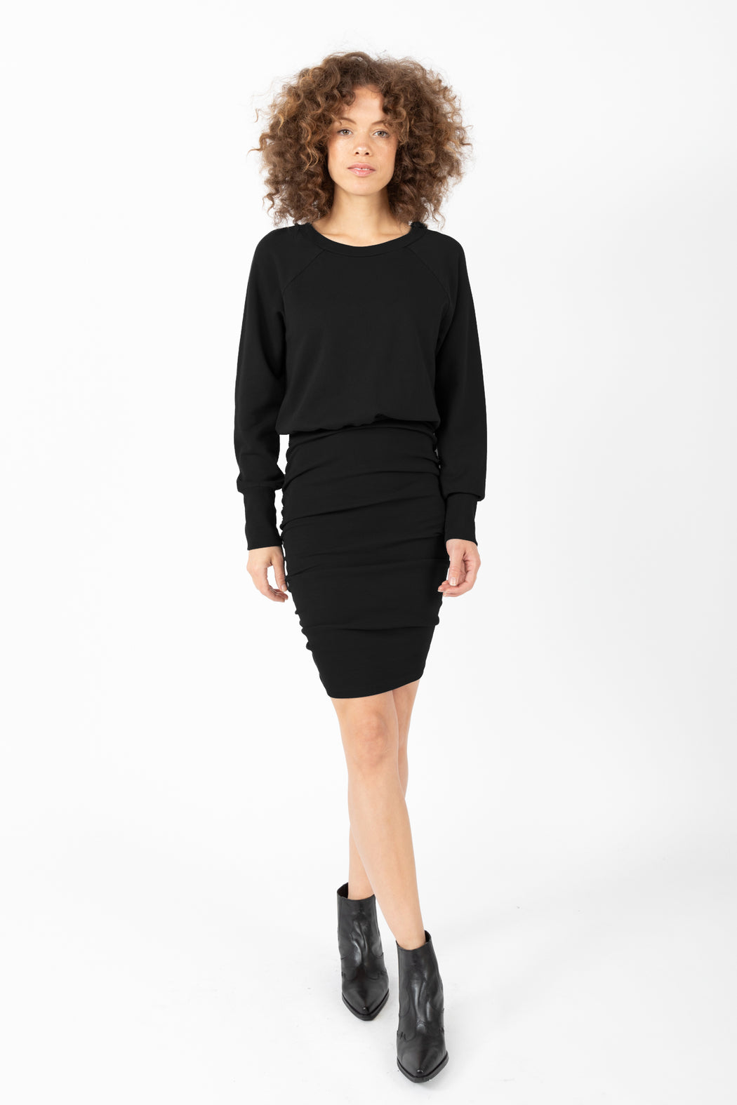 Our Hang Out Dress has precise proportions of your favorite baggy sweatshirt combined with a stretchy rib pencil skirt.