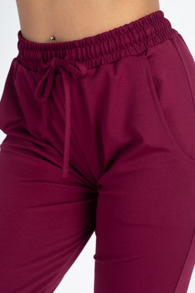 Burgundy Stretch Joggers