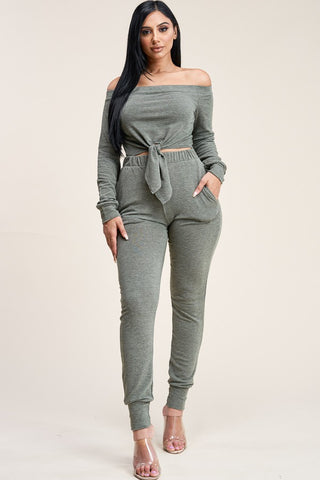 Olive off shoulder top and pants set
