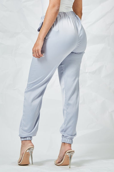 Ice Blue Satin Joggers with Pockets