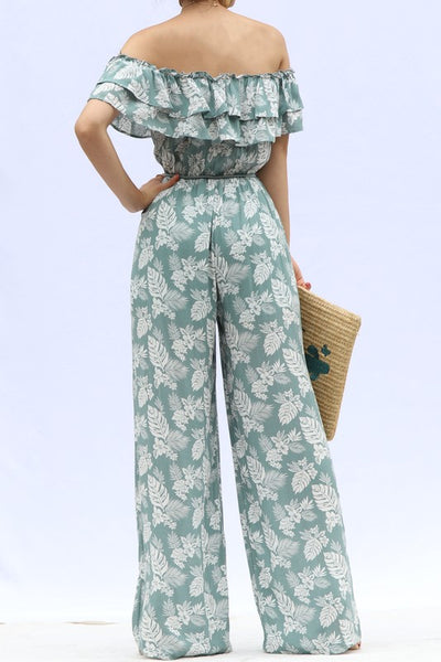 Teal Leaf Print Off Shoulder Jumpsuit