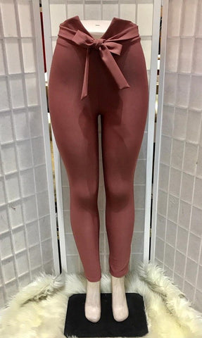Dusty Pink High Waist Tie Pants