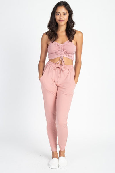 Blush Pink Stretch Joggers