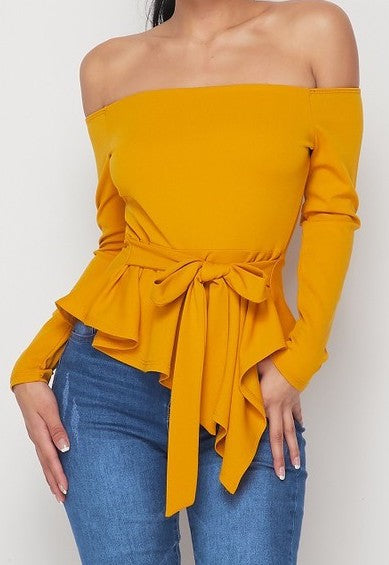 Mustard Off Shoulder Crepe Top