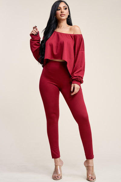 Red two piece pants set