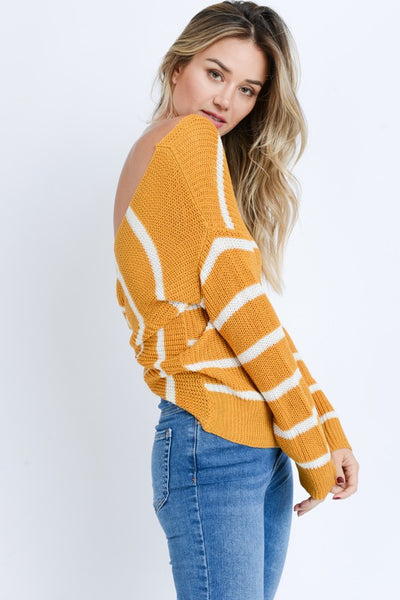 Mustard Striped Open Back Sweater