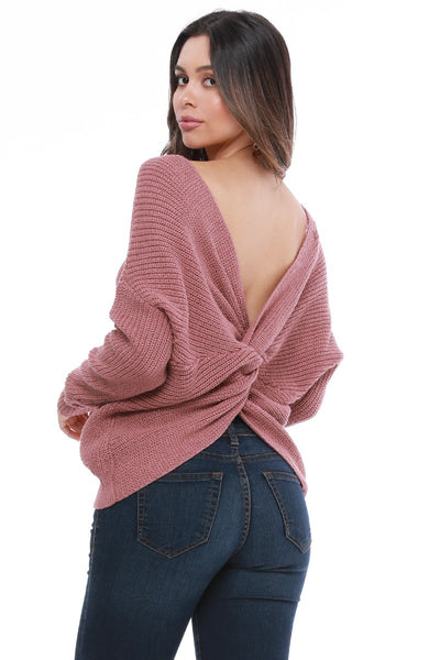 Mauve Open Back Sweater