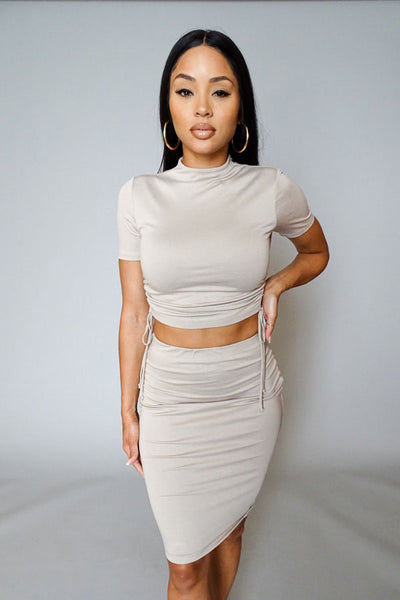 Tan Side Ruched Crop Top & Midi Skirt Set