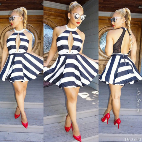 Black and White Striped Fit &  Flare Dress