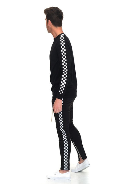Black Checkered Long Sleeve Top