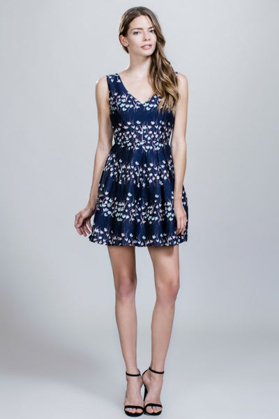 Navy Floral Print Fit & Flare Dress