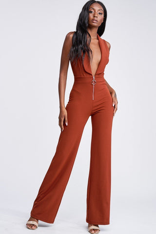 Rust Deep Plunge Sleeveless Jumpsuit
