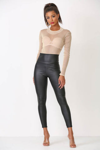 High Waist Faux Leather Legging