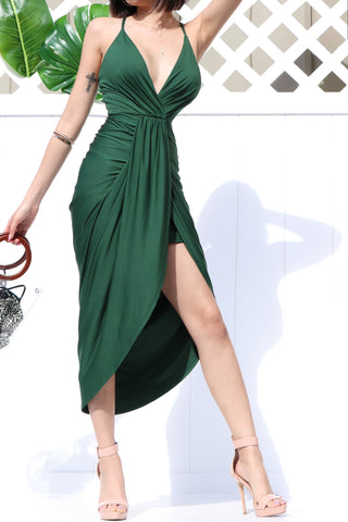 Sadie Ruched Dress in Emerald