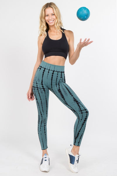 Teal Tie Dye Active Leggings