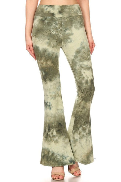 Green TieDye Flare Legged Pants