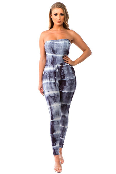 Tie Dye Jumpsuit in Black