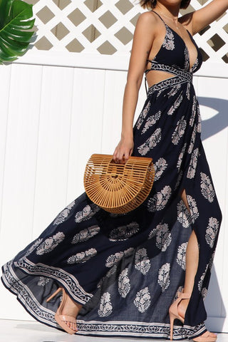 Ameila Navy Printed Maxi Dress
