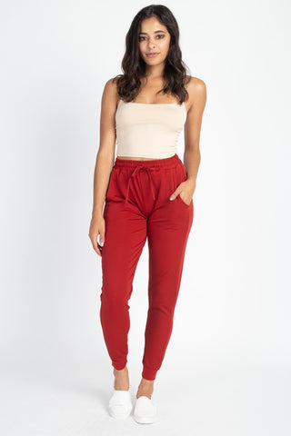 Red Stretch Joggers
