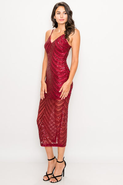 Lavish in Red Sequin Dress