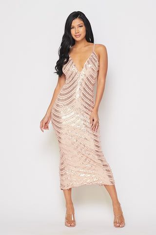 Stunner Rose Gold Sequin Dress