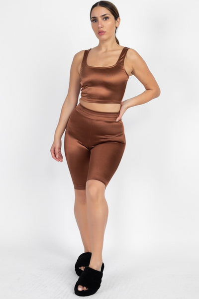 Rust Tank and Biker Shorts Set