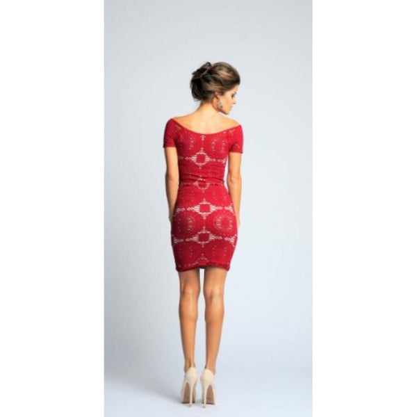 Short Sleeve Red Dress with White Peek Through