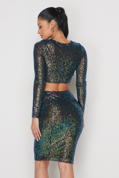 Glowing Green Sequin Skirt Set