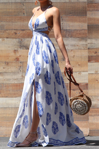Ameila Off White Printed Maxi Dress