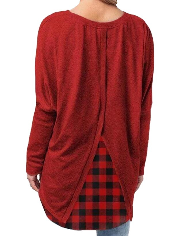 Christmas round neck plaid T-shirt